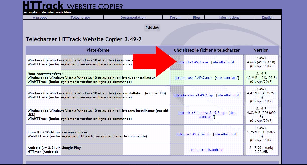 logiciel pour aspirer site web